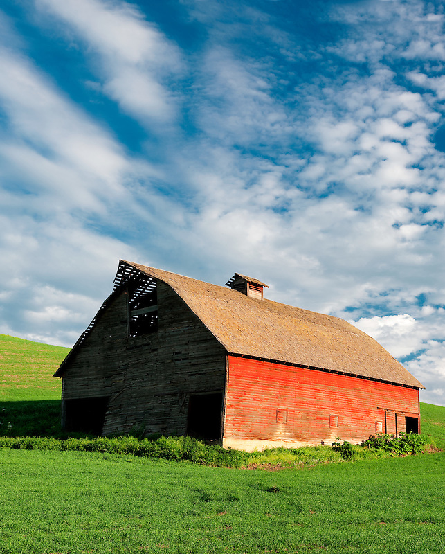 Barn with approaching storm clouds. The Palouse, Washington