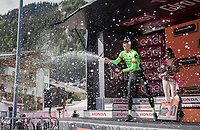 Pierre Rolland (FRA/Cannondale-Drapac) celebrating his victory on the podium<br /> <br /> Stage 17: Tirano &rsaquo; Canaze (219km)<br /> 100th Giro d'Italia 2017