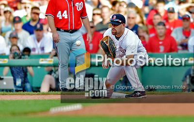 9 June 2012: Boston Red Sox first baseman Kevin Youkilis in action against the visiting Washington Nationals at Fenway Park in Boston, MA. The Nationals defeated the Red Sox 4-2 in the second game of their 3-game series. Mandatory Credit: Ed Wolfstein Photo