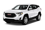 2018 GMC Terrain SLE FWD 5 Door SUV angular front stock photos of front three quarter view