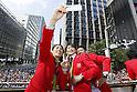 Saori Yoshida, Kohei Uchimura, Yusuke Tanaka (JPN), <br /> OCTOBER 7, 2016 :<br /> Japanese medalists of Rio 2016 Olympic and Paralympic Games wave to spectators during a parade from Ginza to Nihonbashi, Tokyo, Japan.<br /> (Photo by Yusuke Nakanishi/AFLO SPORT)