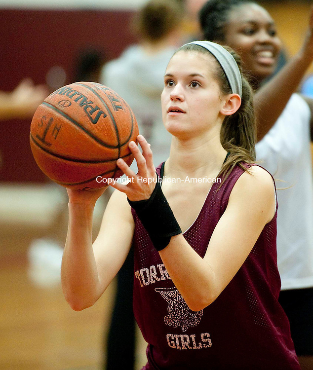 TORRINGTON, CT--- -120215JS02--Torrington's Sara Bardwell shoots free-throws during pre-season conditions and practice Wednesday at the high school. Jim Shannon Republican-American