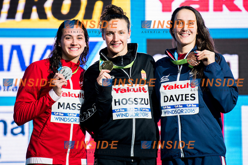 HOSSZU Katinka HUN Gold Medal<br /> MASSE Kylie Jacqueline CAN Silver Medal<br /> DAVIES Georgia GBR Bronze Medal<br /> Women's 100m Backstroke<br /> 13th Fina World Swimming Championships 25m <br /> Windsor  Dec. 7th, 2016 - Day02 Finals<br /> WFCU Centre - Windsor Ontario Canada CAN <br /> 20161207 WFCU Centre - Windsor Ontario Canada CAN <br /> Photo &copy; Giorgio Scala/Deepbluemedia/Insidefoto