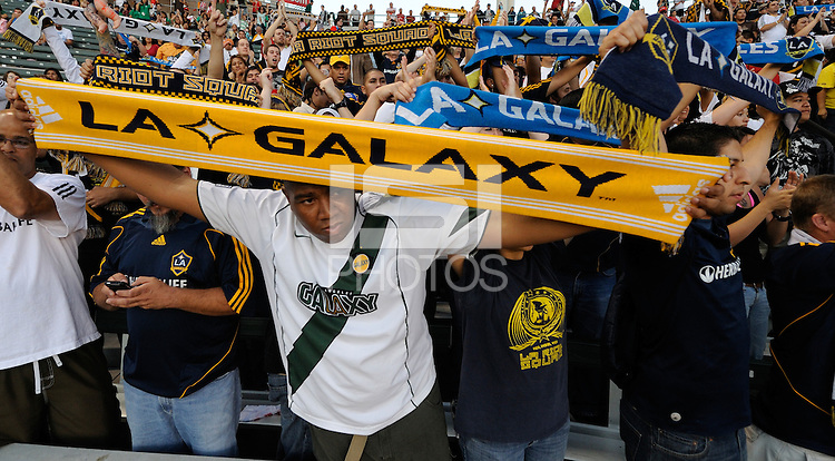A Los Angeles Galaxy fan Chris Tucker cheers during a game against the Chivas USA at the Home Depot Center. Los Angeles Galaxy 1-0 over the Chivas USA, Saturday, Jul. 11. 2009, in Carson, California. .