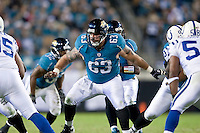December 17, 2009:     Jacksonville Jaguars center Brad Meester (63) during AFC South Conference action between the Indianapolis Colts and Jacksonville Jaguars at Jacksonville Municipal Stadium in Jacksonville, Florida.  Indianapolis defeated Jacksonville 35-31............