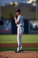 Lancaster JetHawks starting pitcher Logan Longwith (12) prepares to deliver a pitch during a California League game against the Inland Empire 66ers at San Manuel Stadium on May 19, 2018 in San Bernardino, California. Inland Empire defeated Lancaster 9-6. (Zachary Lucy/Four Seam Images)