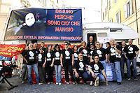 Roma, 16 Giugno 2010.Piazza Monte Citorio.Presidio e sciopero della fame dei lavoratori e lavoratrici Eutelia.Presidium and hunger strike of Eutelia's workers