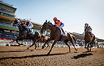 ARCADIA CA - JUNE 04: Beholder #2, with jockey Stevens aboard allows Lost Bus #5 with Fernando Perez to take the lead as Stellar Wind #1 follows in the Vanity Mile at Santa Anita Park on June 4, 2016 in Arcadia, California. (Photo by Alex Evers/Eclipse Sportswire/Getty Images)