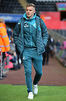 Adam King of Swansea arrives prior to the game during the Premier League match between Swansea City and Watford at The Liberty Stadium, Swansea, Wales, UK. Saturday 23 September 2017