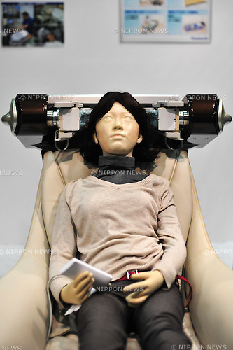 October 17, 2012, Tokyo, Japan - Head Care robot by Panasonic inc., is displayed during Japan Robot Week 2012 at the Tokyo Bigsight. It provides head massages. This exhibition is held to showcase new robots and high technology equipments for visitor. Japan Robot Week 2012 runs from October 17 - 19. (Photo by Yumeto Yamazaki/AFLO)