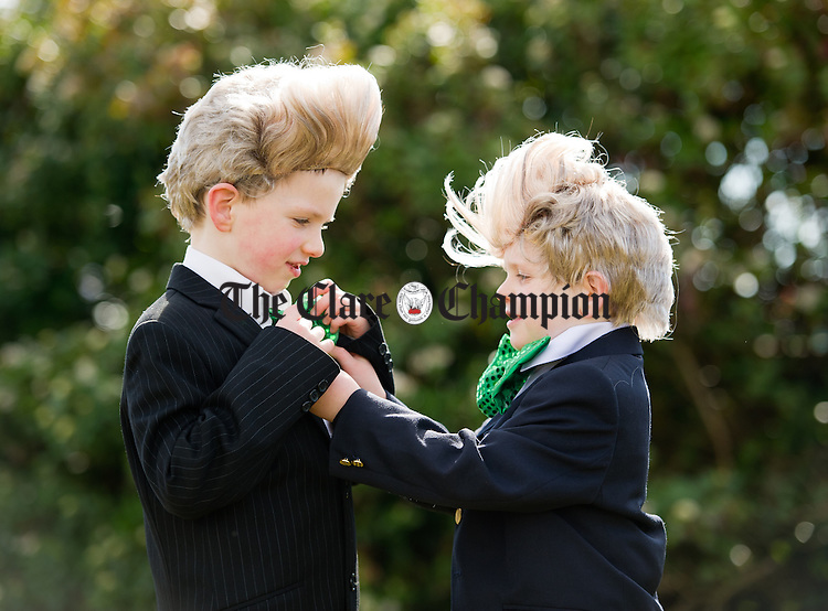 Maitiu and Micheal Honan as Jedward during the St Patrick's day Parade in Doonbeg on Bank holiday Monday. Photograph by John Kelly.