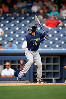 New Orleans Baby Cakes shortstop J.T. Riddle (10) at bat during a game against the Nashville Sounds on April 30, 2017 at First Tennessee Park in Nashville, Tennessee.  The game was postponed due to inclement weather in the fourth inning.  (Mike Janes/Four Seam Images)