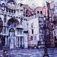 Basilica di San Marco in the early morning before the square fills with tourists.<br />