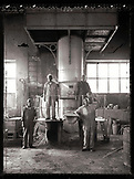 ERITREA, Asmara, the foundry workers who built the original railroad connecting Asmara to the port town of Massawa (B&W)