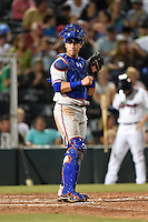 St. Lucie Mets catcher Cam Maron (7) looks to the dugout during a game against the Fort Myers Miracle on April 18, 2014 at Hammond Stadium in Fort Myers, Florida.  St. Lucie defeated Fort Myers 15-9.  (Mike Janes/Four Seam Images)