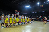 20191114 - CHARLEROI , BELGIUM : Belgian Cats pictured before a female basketball match between the Belgian national team Belgian Cats and Ukraine , a first qualification game for the Belgian Cats in Group G towards the Women's European Eurobasket Basketball Championships 2021 in Lyon, Paris and Valencia, on Thursday 14 th November in the Dome in Charleroi , Belgium . PHOTO SPORTPIX | STIJN AUDOOREN