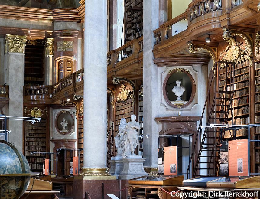 Barocker Prunksaal der Nationalbibliothek, Wien, &Ouml;sterreich, UNESCO-Weltkulturerbe<br /> baroque style state room of National Library, Josefsplatz, Vienna, Austria, world heritage