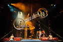 "London, UK. 05.04.2016. Finnish circus troupe ""Race Horse Company"" present the UK premiere of their show ""Super Sunday"", at the Roundhouse, as part of CircusFest 2016. Performers are: Odilon Pindat, Rauli Kosonen, Petri Tuominen, Hannu Abouce Muhonen, Mikko Karhu, Kalle Lehto. Photograph © Jane Hobson."