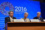 Washington, DC - April 14, 2016: Christine Lagarde (c), Managing Director of the International Monetary Fund, speaks to members of the media during a press availability at the IMF headquarters in the District of Columbia, April 14, 2016, during the IMF/World Bank Spring Meetings. To her left is David Lipton, IMF First Deputy Managing Director and Gerry Rice, IMF Communications Director. (Photo by Don Baxter/Media Images International)