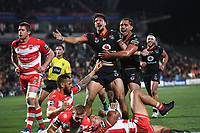 Anthony Gelling celebrates his try.<br /> NRL Premiership rugby league. Vodafone Warriors v St George Illawarra. Mt Smart Stadium, Auckland, New Zealand. Friday 20 April 2018. &copy; Copyright photo: Andrew Cornaga / www.Photosport.nz