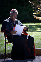 cardinal Peter Kodwo Appiah Turkson.Pope Francis attends the celebration of the Season of Creation with the planting of a tree and a dedication of the Synod for the Amazon to St. Francis, on the occasion of the feast of St. Francis of Assisi. in the Vatican gardens.Vatican City, October 4th, 2019.