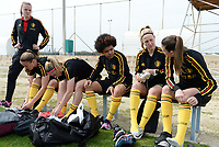 20180304 - LARNACA , CYPRUS :  Belgian players with Tine De Caigny , Lenie Onzia , Jana Coryn , Kassandra Missipo , Celien Guns and Nicky Van Den Abbeele pictured during a Matchday -1 training from The Belgian Red Flames prior to their game against Austria , on Sunday 4 March 2018 at the Alpha Sports Grounds in Larnaca , Cyprus . This will be the third game in group B for Belgium during the Cyprus Womens Cup , a prestigious women soccer tournament as a preparation on the World Cup 2019 qualification duels. PHOTO SPORTPIX.BE | DAVID CATRY