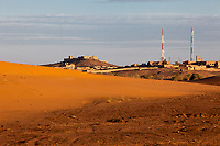 Merzouga, Morocco.  Communications Towers, Old Forts, Sand Dune.
