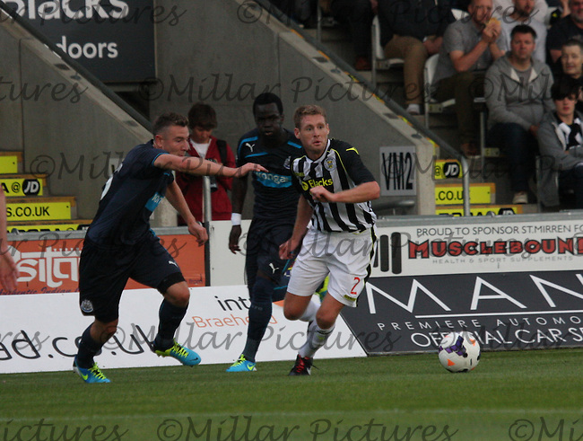 David van Zanten getting the better of Paul Dummett in the St Mirren v Newcastle United friendly match played at St Mirren Park, Paisley on 30.7.13.