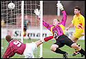 3rd October 98      .Copyright Pic : James Stewart   .STENHOUSEMUIR V ALBION ROVERS.ALAN LAWRENCE (8) NIPS IN AT THE BACK POST TO HEAD HOME STENNY'S SECOND FROM A TIGHT ANGLE PAST KEEPER M.MACLEAN......Payments to :-.James Stewart Photo Agency, Stewart House, Stewart Road, Falkirk. FK2 7AS      Vat Reg No. 607 6932 25.Office : 01324 630007        Mobile : 0421 416997.If you require further information then contact Jim Stewart on any of the numbers above.........