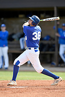 Designated hitter Houston Wright (38) of the Spartanburg Methodist College Pioneers bats in Game 2 of a junior college doubleheader against Southeastern Community College on Wednesday, March 28, 2018, at Mooneyham Field in Spartanburg, South Carolina. (Tom Priddy/Four Seam Images)