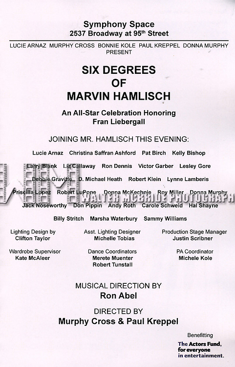 performing in the All Star Benefit ?Six Degrees of Marvin Hamlisch? benefitting The Actors Fund and honoring Broadway Musical Director Fran Liebergall at Symphony Space in New York City.  October 4, 2010...