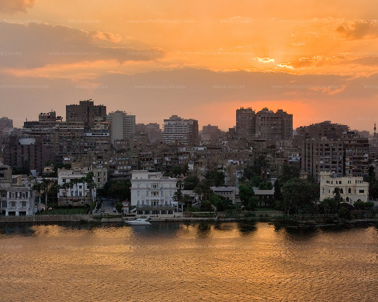 Sunset view across the Nile River from balcony at the Conrad Hilton, Cairo, Egypt.
