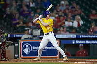 Cade Doughty (4) of the LSU Tigers at bat against the Oklahoma Sooners in game seven of the 2020 Shriners Hospitals for Children College Classic at Minute Maid Park on March 1, 2020 in Houston, Texas. The Sooners defeated the Tigers 1-0. (Brian Westerholt/Four Seam Images)