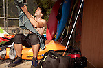 April 30, 2012. Charlotte, NC.. Erik Weihenmayer gets his kayaking gear on.. Erik Weihenmayer, who has been completely blind since age 13, is training at the United States National White Water Center in an attempt to kayak through the Grand Canyon. Weihenmayer is an accomplished outdoorsman who has climbed the 7 Summits, and is the only blind person to climb Mount Everest.