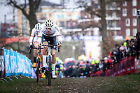eventual winner Mathieu Van der Poel (NED/Alpecin Fenix) and Toon Aerts (BEL/Trek Baloise Lions)<br /> <br /> Men Elite Race<br /> UCI Cyclocross Worldcup – Hoogerheide (Netherlands)<br /> <br /> ©kramon