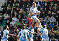 Northampton, England. Al Kellock (Captain) of Glasgow Warriors wins the line out during the Heineken Cup Pool 4 match between Northampton Saints and Glasgow Warriors at Franklin's Gardens on October 14, 2012 in Northampton, England.