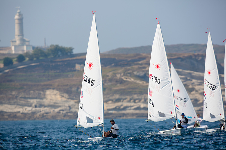 SANTANDER, SPAIN - SEPTEMBER 12:  Laser - USA182345 - Charlie Buckingham in action during Day 1 of the 2014 ISAF Sailing World Championships on September 12, 2014 in Santander, Spain.  (Photo by MickAnderson/SAILINGPIX via Getty Images)