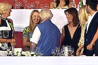 Alexandra de Hanovre et sa mËre la Princesse Caroline de Hanovre saluent Yves Piaget, de dos, durant le Longines proAm Cup Monaco dans le cadre du Jumping International de Monte Carlo 2016 le 24 juin 2016.