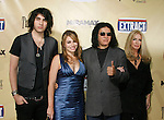 "HOLLYWOOD, CA. - August 24: Gene Simmons poses with his family (l-r) Nick Simmons, Sophie Simmons and Shannon Tweed arrive at the Los Angeles premiere of ""Extract"" at the ArcLight Hollywood on August 24, 2009 in Hollywood, California."
