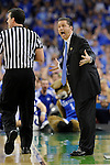 31 MAR 2012: Head coach John Calipari from the University of Kentucky disagrees with an officials call during the Semifinal Game of the 2012 NCAA Men's Division I Basketball Championship Final Four held at the Mercedes-Benz Superdome hosted by Tulane University in New Orleans, LA. Ryan McKeee/ NCAA Photos.