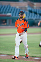 AZL Giants starting pitcher Deiyerbert Bolivar (62) walks off the field between innings of the game against the AZL Athletics on August 5, 2017 at Scottsdale Stadium in Scottsdale, Arizona. AZL Athletics defeated the AZL Giants 2-1. (Zachary Lucy/Four Seam Images)