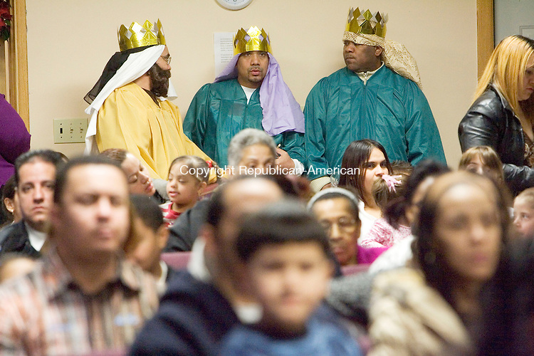 WATERBURY, CT- 05 JAN 2008- 010508JT09-<br /> From left, Aristides Reyes, Luis Rosario, and Francisco Villanueva are dressed as the three kings during the Three Kings Festival at Shekinah Christian Church in Waterbury on Saturday. <br /> Josalee Thrift / Republican-American