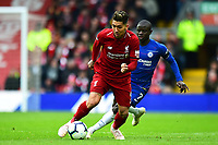 Liverpool's Roberto Firmino competes with Chelsea's Ngolo Kante<br /> <br /> Photographer Richard Martin-Roberts/CameraSport<br /> <br /> The Premier League - Liverpool v Chelsea - Sunday 14th April 2019 - Anfield - Liverpool<br /> <br /> World Copyright © 2019 CameraSport. All rights reserved. 43 Linden Ave. Countesthorpe. Leicester. England. LE8 5PG - Tel: +44 (0) 116 277 4147 - admin@camerasport.com - www.camerasport.com
