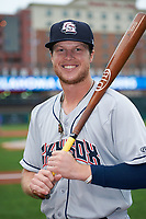 Colorado Springs Sky Sox right fielder Brett Phillips (8) poses for a photo before a game against the Oklahoma City Dodgers on June 2, 2017 at Chickasaw Bricktown Ballpark in Oklahoma City, Oklahoma.  Colorado Springs defeated Oklahoma City 1-0 in ten innings.  (Mike Janes/Four Seam Images)