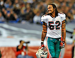 7 December 2008: Miami Dolphins' linebacker Channing Crowder takes a time out during the first regular season NFL game ever played in Canada. The Dolphins defeated the Buffalo Bills 16-3 at the Rogers Centre in Toronto, Ontario. ..Mandatory Photo Credit: Ed Wolfstein Photo