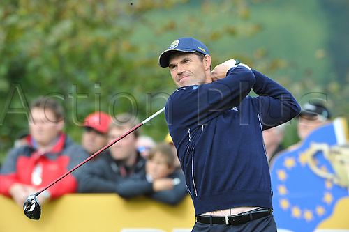 30.09.2010  Padraig Harrington (IRE) of Europe in action during practice at the Ryder Cup 2010 course, Celtic Manor resort, Newport, Wales on the third practice day of  the Ryder Cup 2010 between Europe v USA