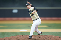 Wake Forest Demon Deacons relief pitcher Antonio Menendez (27) delivers a pitch to the plate against the Miami Hurricanes at David F. Couch Ballpark on May 11, 2019 in  Winston-Salem, North Carolina. The Hurricanes defeated the Demon Deacons 8-4. (Brian Westerholt/Four Seam Images)