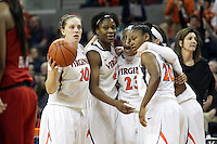 Virginia players huddle during the game Thursday in Charlottesville, VA. Virginia defeated Maryland 86-72. Photo/The Daily Progress/Andrew Shurtleff