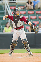 Savannah Sand Gnats catcher Kevin Plawecki (26) warms up the pitcher between innings of the South Atlantic League game against the Kannapolis Intimidators at CMC-Northeast Stadium on May 30, 2013 in Kannapolis, North Carolina. The Intimidators defeated the San Gnats 5-4 in 11 innings..   (Brian Westerholt/Four Seam Images)
