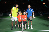 14-02-12, Netherlands,Tennis, Rotterdam, ABNAMRO WTT, Player escorts bij Robin Haase en Davidenko(R)